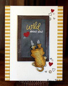 Bad Kitty Card with chalkboard by Larissa Heskett | Naughty Newton Stamp set by Newton's Nook Designs