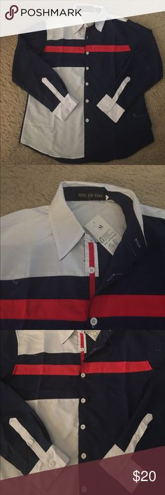 Casual Shirt Red/white/navy color block, size medium, new with tag. Retail $40 Shirts Casual Button Down Shirts