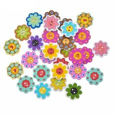 50pcs Multicolor Flower Wooden Buttons Crafts Scrapbooking 2 Holes botones in Crafts, Multi-Purpose Craft Supplies, Crafting Pieces | eBay!