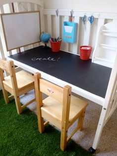 turn an old crib into a desk