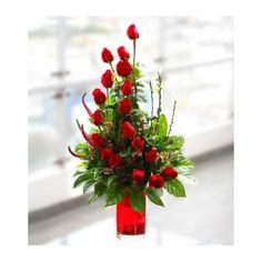 Arreglo Coral Con 18 Rosas Rojas