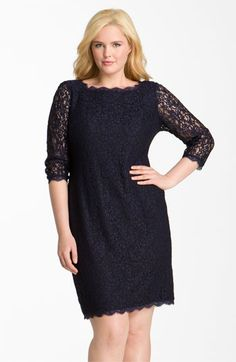 Adrianna Papell Lace Overlay Sheath Dress (Plus Size) available at #Nordstrom Love the zipper detail how it zips from either end!!!