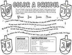 Color the wonderful spinning top that is enjoyed as part of Hanukkah traditions all over the world. This fun and free coloring pdf has information on what each of the four Hebrew letters mean as well as lyrics to the popular dreidel song. Music Activities For Kids, Language Activities, Music For Kids, Hanukkah Traditions, Kindergarten Crafts, Preschool Ideas, Hebrew School, Preschool Programs, Map Skills
