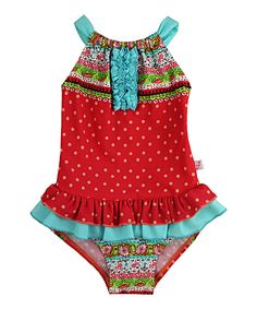 Loving this Red Border Ditsy One-Piece - Infant, Toddler & Girls on #zulily! #zulilyfinds