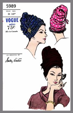 Vintage Vogue Designer Sally Victor Hat Turban Fabric material sew pattern# 5989