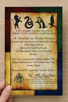 50 Custom Harry Potter Hogwarts House Invitations & RSVP Cards -PRINTED- Great for any Gryffindor/Slytherin/Hufflepuff/Ravenclaw Wedding!