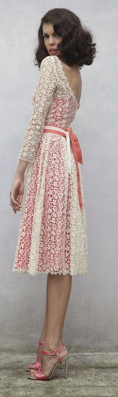 Luisa Beccaria Resort 2014 lace cocktail dress classy! I would love to do a grown up tea party and rock this dress!