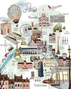 Interesting map which summarizes the attractions to see in lovely Paris.