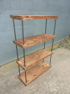 Industrial Rustic Steel Hairpin Reclaimed Timber Bookcase Shelving