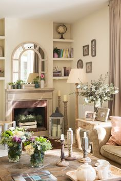 My inner landscape Living Room With Fireplace, Home Living Room, Living Room Decor, Shabby Chic Cottage, Shabby Chic Style, Front Rooms, Dinning Chairs, Home Comforts, Home Hardware