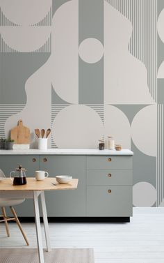 Our Improvise mural in Green is ready to turn your wall into a stylish statement art piece. Inspired by Mid Century Modern design, this abstract wallpaper mural is lovingly made with a collection of curves, circles, clean lines, and contrasting geometric shapes. The result is an interesting new addition to any wall space for you and your guests to admire! Kitchen Wallpaper Murals, Geometric Wallpaper Murals, Mid Century Modern Design, Wall Spaces, Clean Lines, Geometric Shapes, Wall Murals, Circles, Mid-century Modern