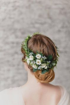 This elegant Wedding Flower Crown for hair consists of neat white ivory roses and greenery leaves. The lovely Bridal Hair Piece can be easily worn in many positions around . Floral Crown Wedding, Boho Wedding Flowers, Elegant Wedding Hair, Hair Comb Wedding, Flowers In Hair, Bridal Hair, Boho Flowers, Casual Wedding, Wedding Attire