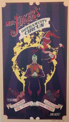 """MR. JOKER'S GOTHAM CITY CIRCUS"" by Claire Hummel - Giclee Print (16"" x 30"")"