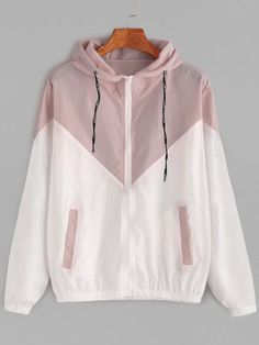 Dotfashion Color Block Contrast Drawstring Hooded Zip Up Pink Jacket Female Casual Coat 2019 Autumn Clothing Spring Outerwear Source by clothing Pink Jacket, Jacket Style, Casual Outfits, Cute Outfits, Fashion Outfits, Fashion Fashion, Fashion Ideas, Vintage Fashion, Fashion Coat