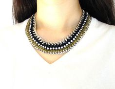 Handmade statement necklace-olive green, navy