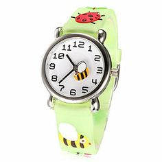 RayShop - Children's Little Round Dial 3D Ladybug Patern Silicone Band Quartz Analog Wrist Watch (Assorted Colors) ( Color : Green ) Watches,http://www.amazon.com/dp/B00H4X6QW2/ref=cm_sw_r_pi_dp_WIrktb1XN160YRFW