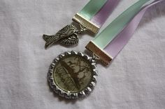 20mm Ribbon bookmark, double ribbon, bottlecap & charm