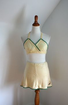 Vintage 1940s Bathing Suit Jantzen Yellow & Green Skirted Two Piece