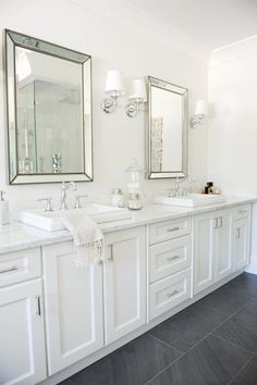 - Classic bathroom style has been widely used for decades. There are a lot of families who like designing a classic bathroom - this style is not out of . Small White Bathrooms, Grey Bathrooms, Modern Bathroom, Small Bathroom, Dyi Bathroom, Minimalist Bathroom, Bathroom Designs, Beautiful Bathrooms, Gray And White Bathroom Ideas