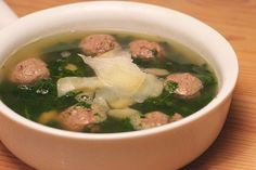 Fennel Meatball Soup with Spinach and White Beans