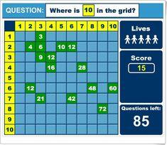 """""""Tablas de multiplicar en la cuadrícula"""" (Juego de Matemáticas de Primaria) Grid, This Or That Questions, Life, Maths Area, Multiplication Tables, Math Games, Teaching Resources"""