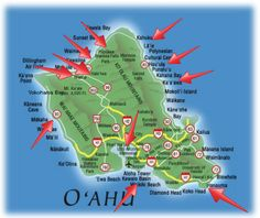 All the places we stopped at on Oahu.