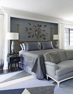 Beautiful grey, blue, and white bedroom Interior Designer Jean-Louis Deniot.