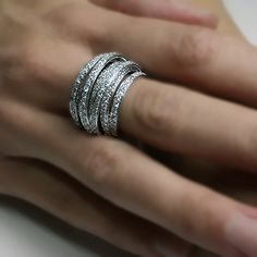 3.00 carats Natural Diamond Big Wedding Band Ring 14k White Gold