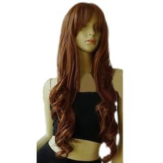 Brown Classic Womens Long and Curly Hair Wig ($22) ❤ liked on Polyvore featuring beauty products, haircare, hair styling tools, hair, brown and curly hair care