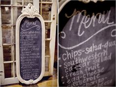 Dallas Shabby Chic Wedding...  Great idea! Find an second hand giant mirror and spray paint with chalkboard paint. Great DIY