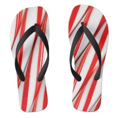 #Funky Chrstmas Candy Canes Flip Flops - #womens #shoes #womensshoes #custom #cool