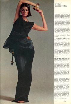 US Vogue February 1976 The Allure of American Style Comes Through In the Simple, Sensuous Evenings of Mary McFadden Photo Richard Avedon Model Janice Dickinson Hair Suga Makeup Way Bandy