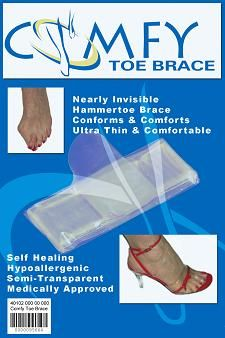 Nearly invisible hammer toe brace comforts, aligns, and protects. Skin like polymer gel provides soothing cushion without being bulky. Unnoticeable even while wearing open toe shoes. $12.95