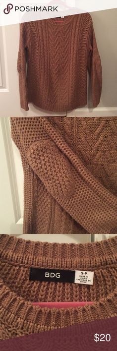 BDG oversized sweater Purchased from urban outfitters. Camel colored. Oversized with elbow patches. Only worn once! BDG Sweaters Crew & Scoop Necks