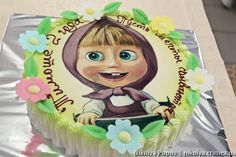 Masha cake - a small cake for the girl Beautiful Cake Pictures, Beautiful Cakes, Amazing Cakes, Masha Cake, Carrot Cake Frosting, Fondant, Birthday Decorations At Home, Masha And The Bear, White Cakes