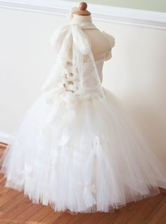Flower Girl Tutu Dress Floor Length Sewn Tutu Dress with Satin Corset Style Top with Lace Straps and Satin Flower Hair Clip CUSTOMIZABLE. $95.00, via Etsy.