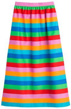 Striped Cotton-Silk Midi Skirt detail 0