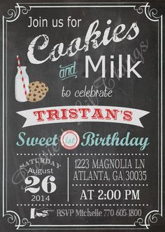 Vintage Chalkboard Cookies and Milk Invitation Birthday Party Bridal or Baby Shower Wedding Invitation Digital File Red Blue