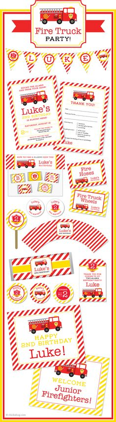Fire truck theme party paper goods & printables from Chickabug! Super cute for a fire truck party! Happy 2nd Birthday, Boy Birthday, Birthday Parties, Firetruck, Party Themes, Party Ideas, Paper Goods, Party Planning, Printables