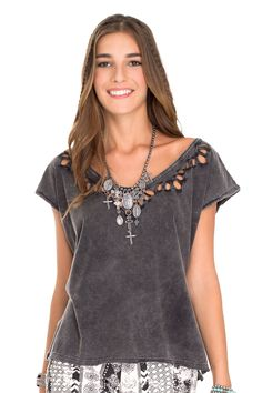 blusa estonada bordado gola - Blusas | Dress to