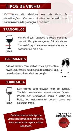 Tipos de vinho - Curso vinho para iniciantes Etiquette And Manners, Alcohol Drink Recipes, Wine Guide, Wine Cheese, Wine And Beer, Sparkling Wine, Cabernet Sauvignon, Creative Food, Bartender