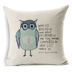 Owl Pattern Cotton Linen Square Throw Pillow Case Decorative Cushion Cover Pillowcase