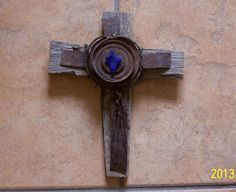 Rustic New Mexico  Desert Colbalt Blue Sea Glass, Antique Metal, Antique Wire, and Old Wood Wall Cross on Etsy, $25.00