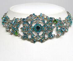Aqua Crystal Choker Necklace Earrings Set  #jewelry #style #fashion #beauty  #design #pinterest