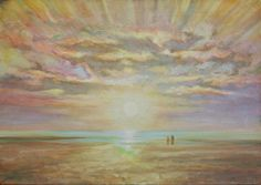 The two.  Oil on Canvas.  The picture shows a scale comparison between nature and man. The two are observing the sunset and, in a meditative contemplation state, unify with nature.