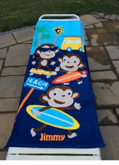 Surf Town MONKEY Surfers Beach Towel Personalized by CACBaskets on Etsy Oversized Beach Towels, Surfers, Monkey, Skateboard, Trending Outfits, Unique Jewelry, Handmade Gifts, Kids, Vintage