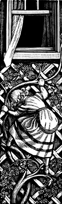Gwen Raverat wood engraving Olga Climbing Down the Wall, The Runaway  127 x 39mm, block cut 1936.