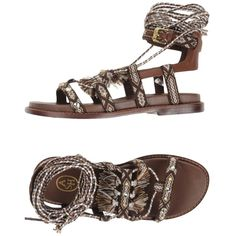 Ash Sandals ($145) ❤ liked on Polyvore featuring shoes, sandals, brown, brown flat sandals, ash shoes, round toe flat shoes, leather sole shoes and flat shoes