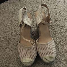 Wedges Never worn. 4 inch heels, 1 inch platform. Lucky Brand Shoes Espadrilles