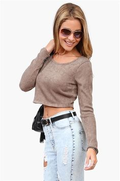Clueless Crop Sweater in Taupe